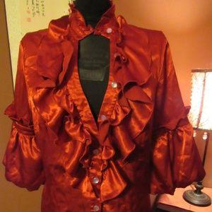 Crimson Red Satin Gothic Victorian Blouse-L